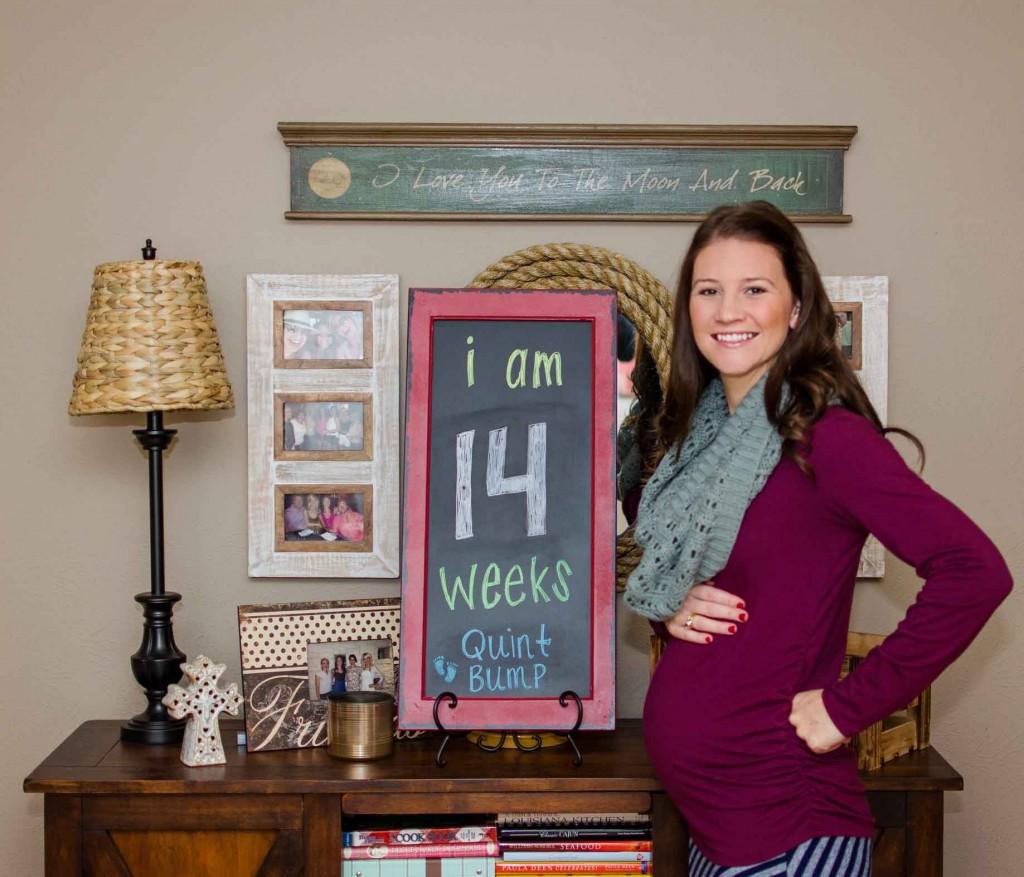 14 Week Quintuplet Belly Bump